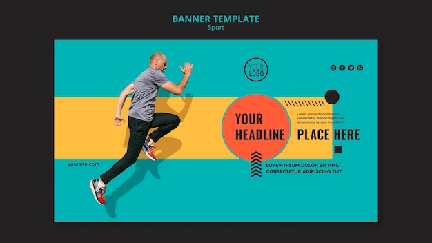 Side view man running banner template
