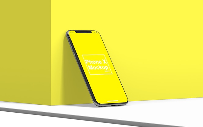 Side view of mobile phone mockup