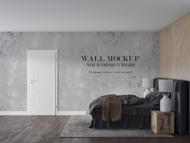 側面図モダンな寝室の壁のモックアップ