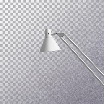 Side view modern grey desk lamp isolated