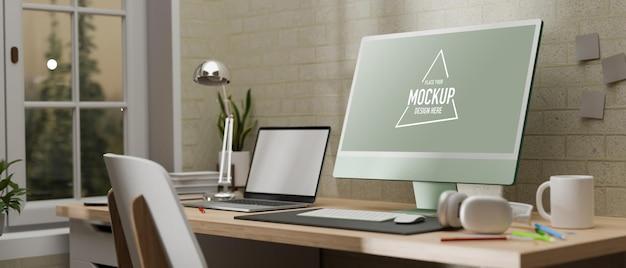 Вид сбоку на 3d-рендеринг офисной комнаты с компьютерным макетом