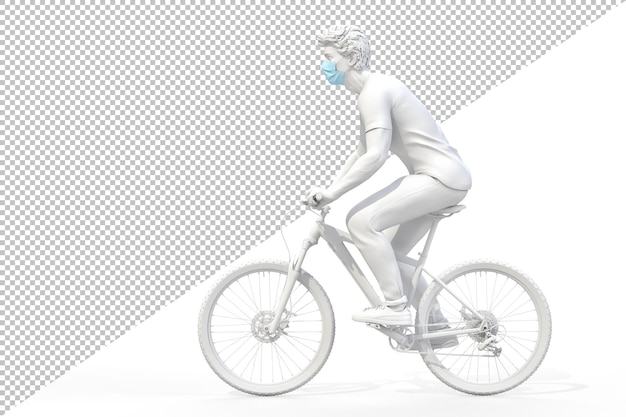 自転車のレンダリングで医療用保護フェイスマスクを着用している男性の側面図