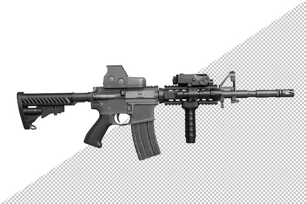 白い背景で隔離の自動小銃の側面図。 3dイラスト