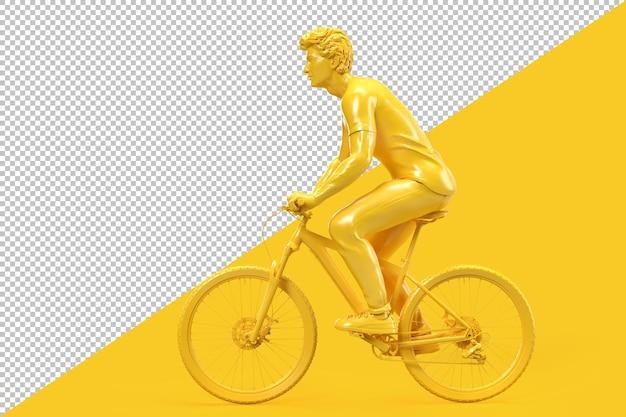 自転車に乗ってカジュアルな服装の男の側面図