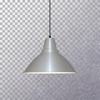Изолированная лампа серого потолка, вид сбоку