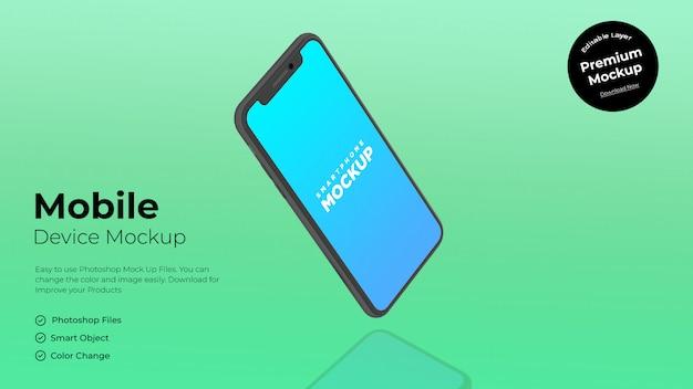 携帯電話の画面のモックアップの側面図