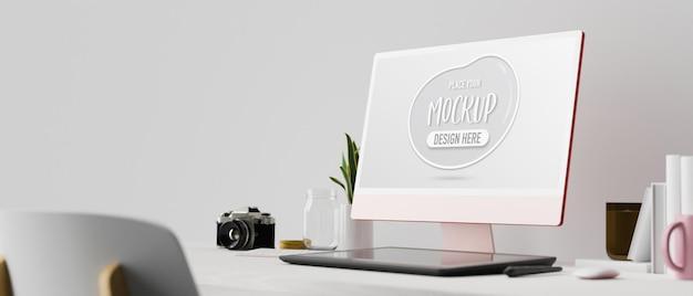 ピンクのパステルコンピューター描画タブレットと白い部屋の3dレンダリングの消耗品の側面図