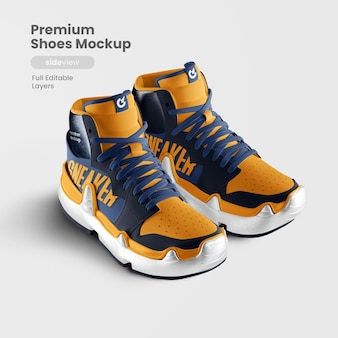 Side view of premium shoes mockup