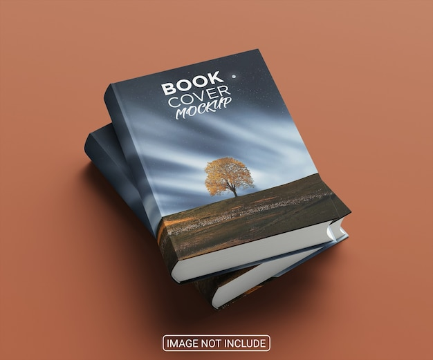 Side view realistic book hardcover mockup on light red background