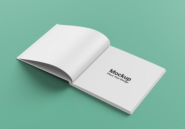 Вид сбоку реалистичный квадратный макет книги в твердом переплете