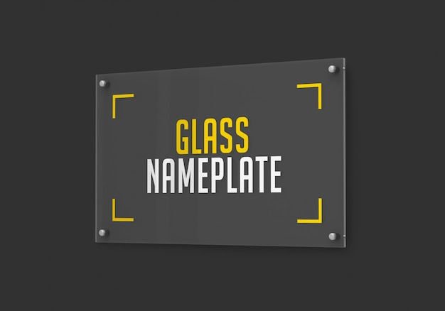 Side view  of rectangular glass nameplate mockup
