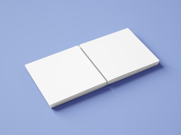 Квадратный макет обложки книги, вид сбоку