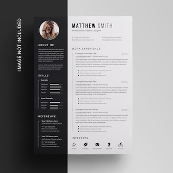 Sidebar resume template with black and white