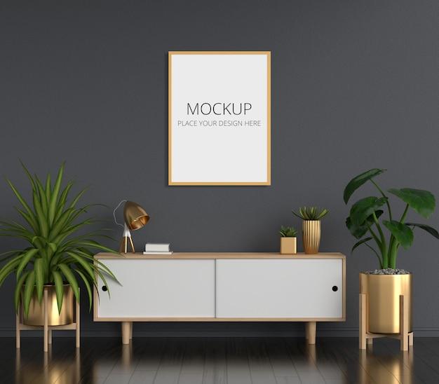 Sideboard in black living room with frame mockup Premium Psd