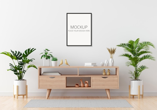Sideboard in white living room with frame mockup Premium Psd