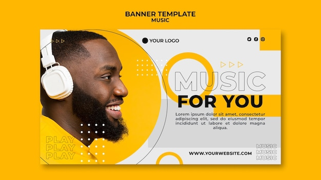 Sideways man listening to music banner web template