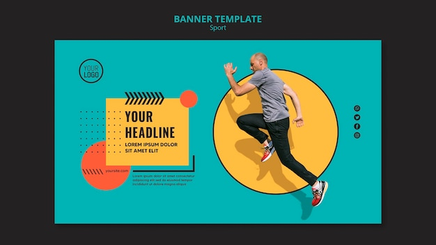 Sideways man running banner template