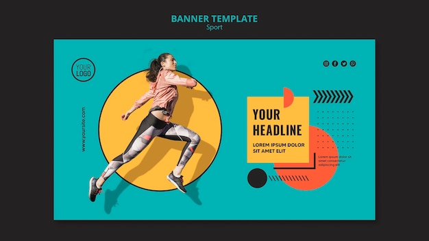 Sideways woman running banner template