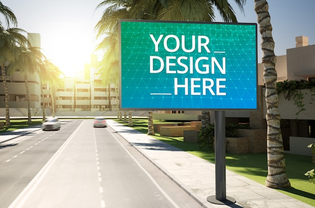 Sign billboard for commercial ads mockup on roadside