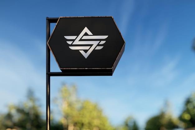Sign board logo mockup template