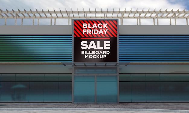 블랙 프라이데이 세일 배너와 함께 쇼핑 센터에 사인 보드 목업