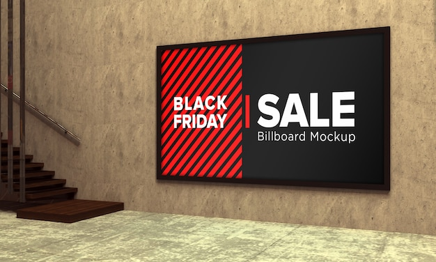 Sign board mockup in shopping center with black friday sale banner
