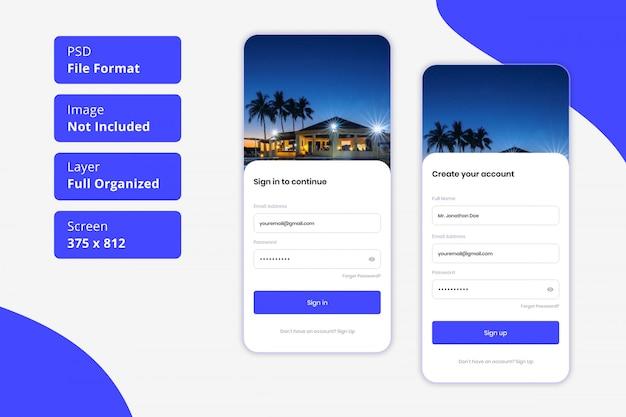 호텔 객실 예약 모바일 앱 ui에 대한 로그인 및 가입 페이지
