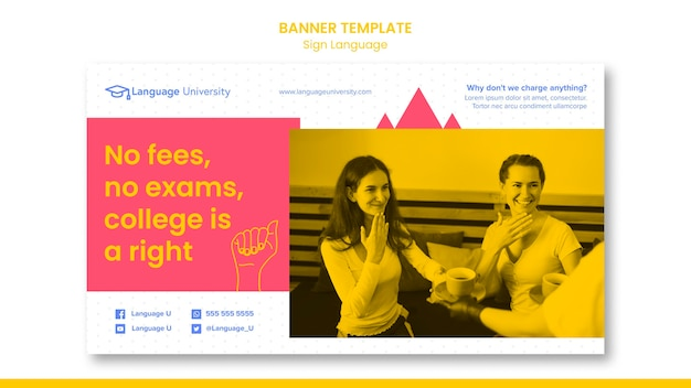 Sign language banner template