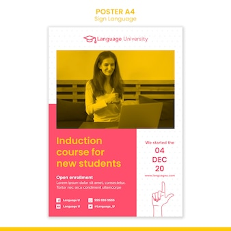 Sign language poster template