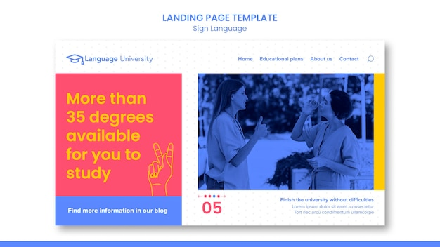 Sign language web template