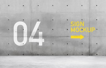 Sign mockup on concrete wall