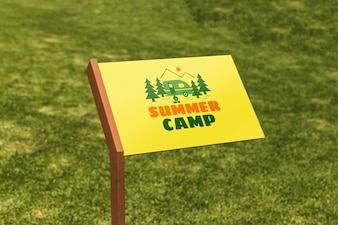 Sign mockup with grass