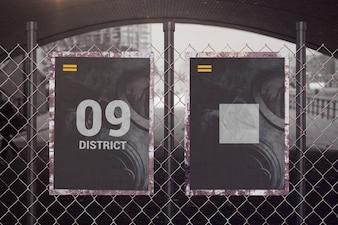Sign or frame mockup on metal fence