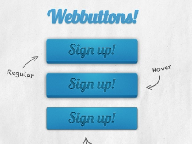 Sign up blue buttons psd material