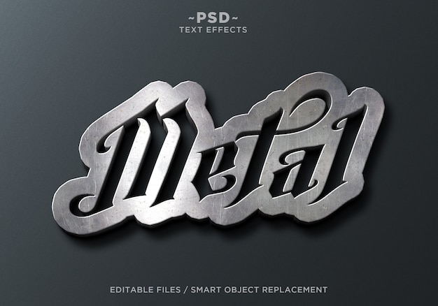 Sign wall metal effects editable text