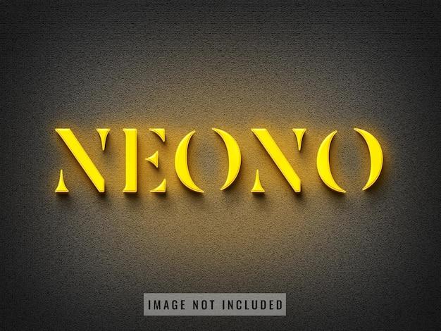 Знак стены желтый неоновый логотип макет