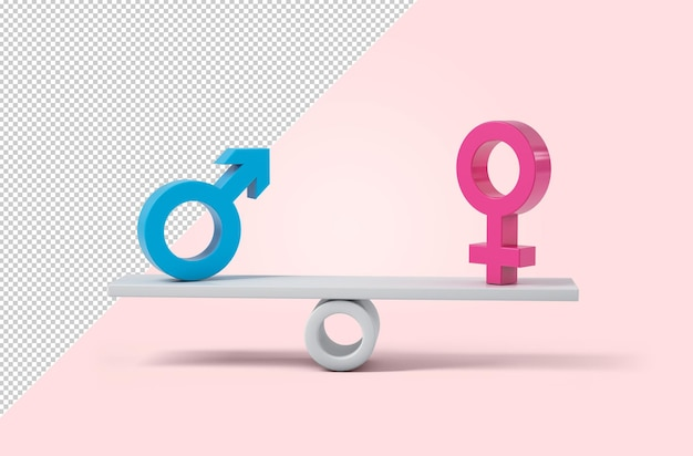 Sign of woman and man on a scale, mockup