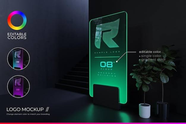 Signage logo mockup at front office with futuristic style and editable gradient color