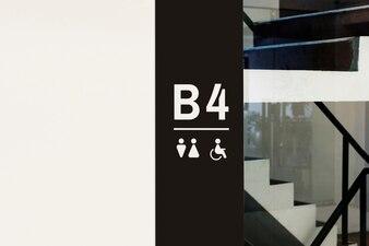 Signboard inside a modern building
