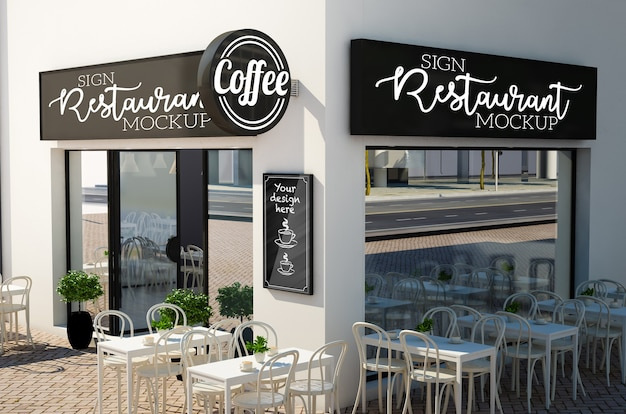 Signboard mockup on restaurant facade