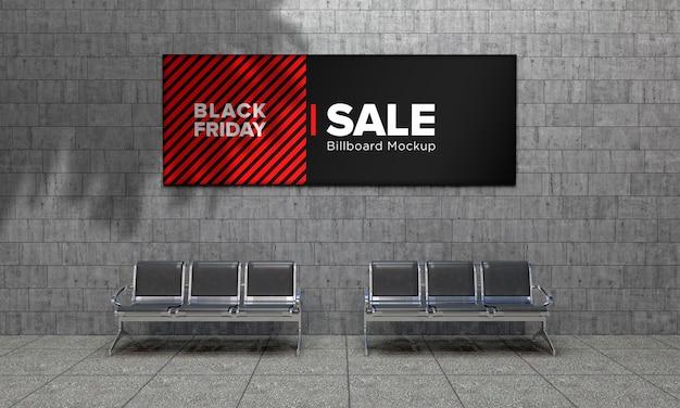 블랙 프라이데이 세일 배너가있는 쇼핑 센터의 월스트리트 사인 모형에 간판