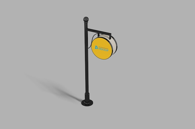 Signboard pole in perspective mockup