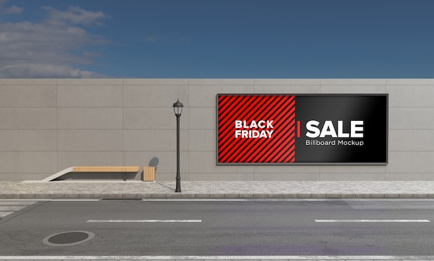 Signboard on wall street sign mockup with black friday sale banner