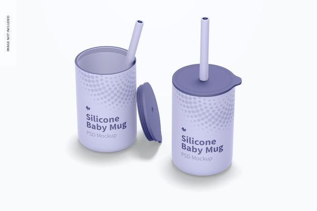 Силиконовые детские кружки с крышкой, макет