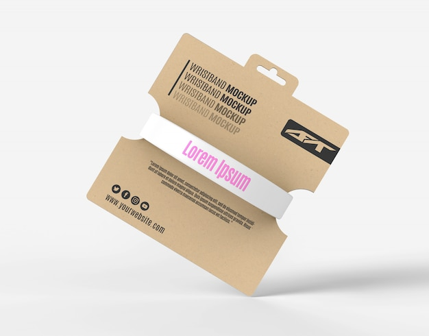 Silicone wristband packaging mockup