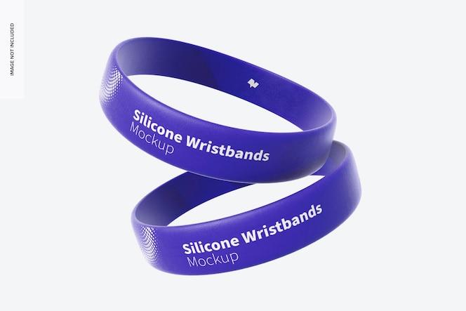 Silicone wristbands set mockup, falling