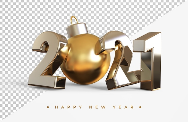 Silver 2021 new year with christmas ball 3d rendering isolated