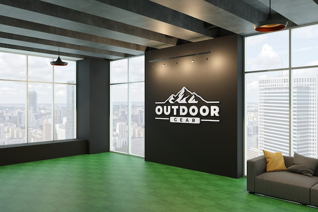 Silver 3d logo mockup on black wall in the room Premium Psd