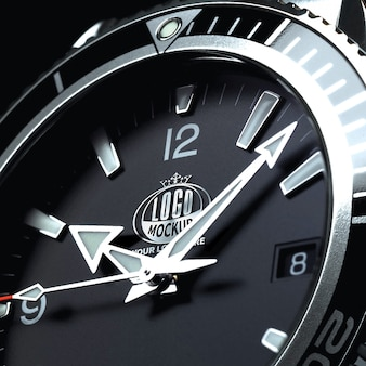 Silver 3d logo mockup embedded in the watch