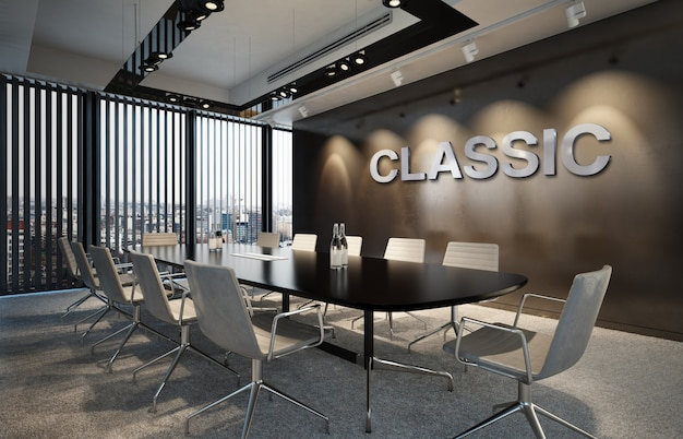エレガントなクラシックビジネス屋内ワークスペースでのsilver 3d officeロゴのモックアップ